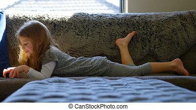 girl, 4k, numérique, tenue, salle, vivant, tablette