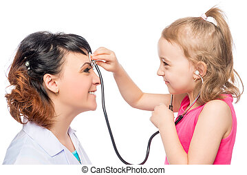 Girl 7 years listening to the doctor's head pediatrician on a white background isolated