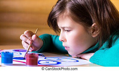 Girl 8-11 years painting paints