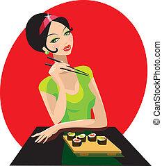 girl, a, sushi