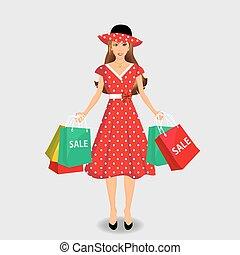 girl., achats, agrafe, illustration, vecteur, art.