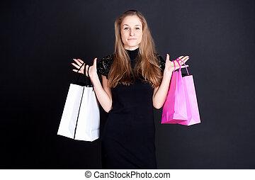 girl, achats, heureux