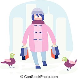 girl, achats, hiver
