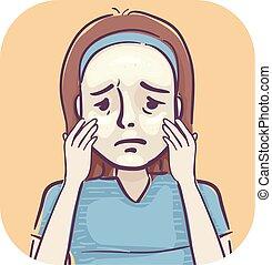 Girl Acne Oily Skin Illustration - Illustration of a Sad ...