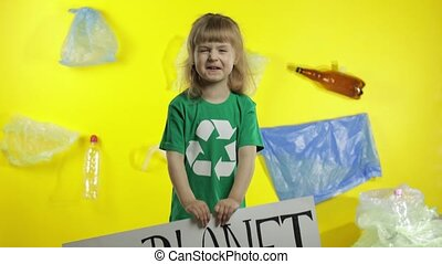 Girl activist hold white poster Our Planet Needs Help. ...
