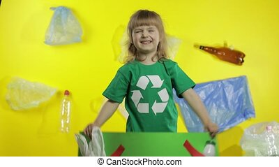 Girl activist holding green poster Say no to Plastic. Plastic nature pollution