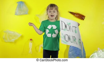 Girl activist holding poster Don't Trash Our Future. Reduce trash pollution. Save ecology