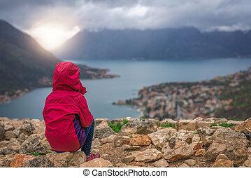 Girl admiring the Kotor Bay