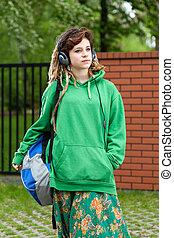 girl, adolescent, musique, sac à dos, écoute