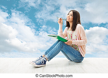 girl, adolescent, pensée, inspiration, ou, écrire, idée, séance, sur, ciel bleu, fond