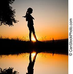 girl, adolescent, silhouette