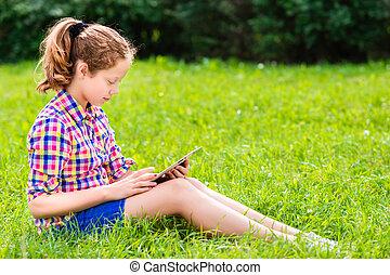 girl, adolescent, tablette, numérique
