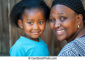 girl., africano, jovem, mãe