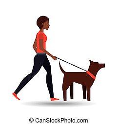 girl afro walking a brown dog