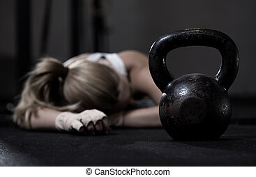 Girl after crossfit training - Portrait of drained girl...
