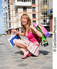 Girl after shopping