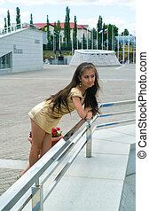 girl against urban landscape