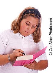 girl, agenda, écriture