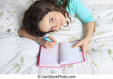 girl, agenda, lit, écriture