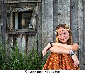 girl, agréable, jeune, village., dehors