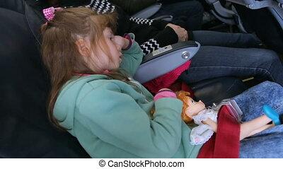 girl, airplain, dormir, peu