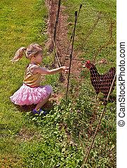 girl, alimentation, poulet