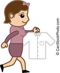 girl, aller, chemise, fer, jeune