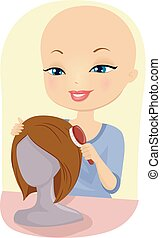 Girl Alopecia Wig Mannequin Comb Illustration - Illustration...