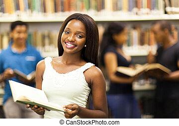 girl, américain africain, collège