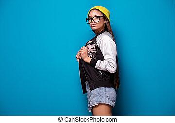 girl., américain, mode, africaine