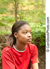girl., amerikaan, afrikaan