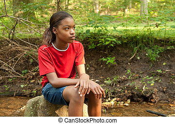 girl., amerykanka, afrykanin