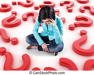 Girl among questions - Sad girl sits among many red...