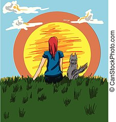 Girl and a dog looking at the sunset Vector. Cartoon characters story boards