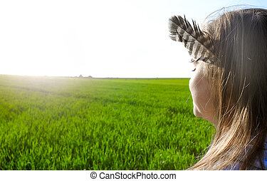 Girl and a feather