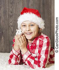 girl and a rat, christmas