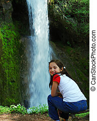 girl and a waterfall