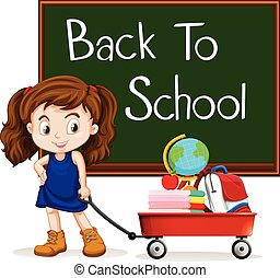Girl and back to school sign