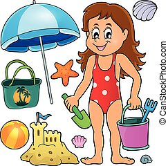 Girl and beach related objects theme set - eps10 vector...