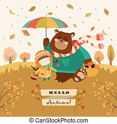Girl and bear walking under an umbrella in the forest