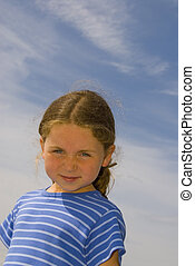 girl and blue sky