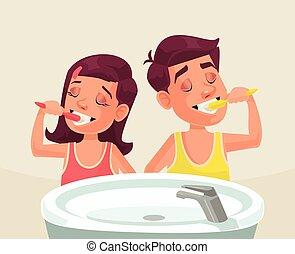 Girl and boy brushing teeth