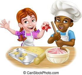 Girl and Boy Cartoon Child Chef Cook Kids