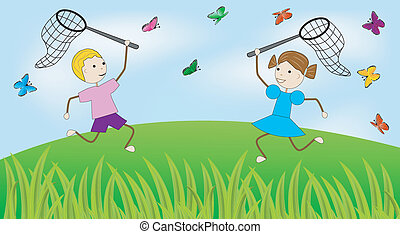 girl and boy catch butterflies