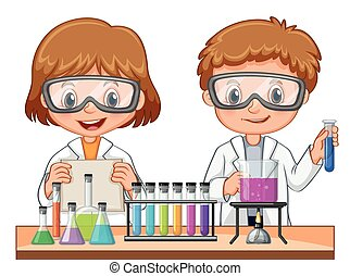 Girl and boy doing science experiment