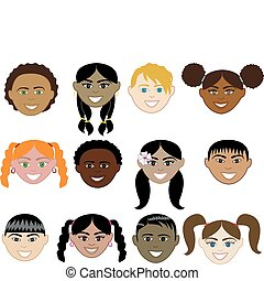 Girl and Boy Faces - Vector Illustration of 12 boy and girl...