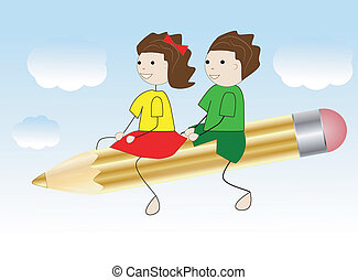 girl and boy fly on a pencil