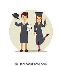 Girl and boy graduates cartoon character