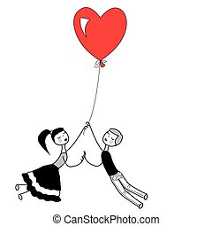 Girl and boy holding the string of flying red heart balloon.