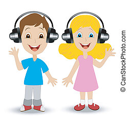 girl and boy in headsets
